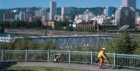 Portland, Ore., has an extensive system of bike paths and lanes, like this one along the Eastbank Esplanade.