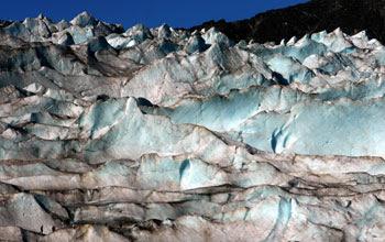 Photo of ice wall in Mendenhall Glacier, Alaska.