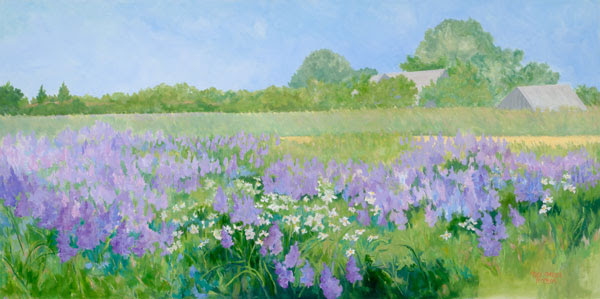 "Casey Chalem Anderson ""Lupine Field""  Peconic Land Trust Conserved Property 30 x 60 oil on canvas"