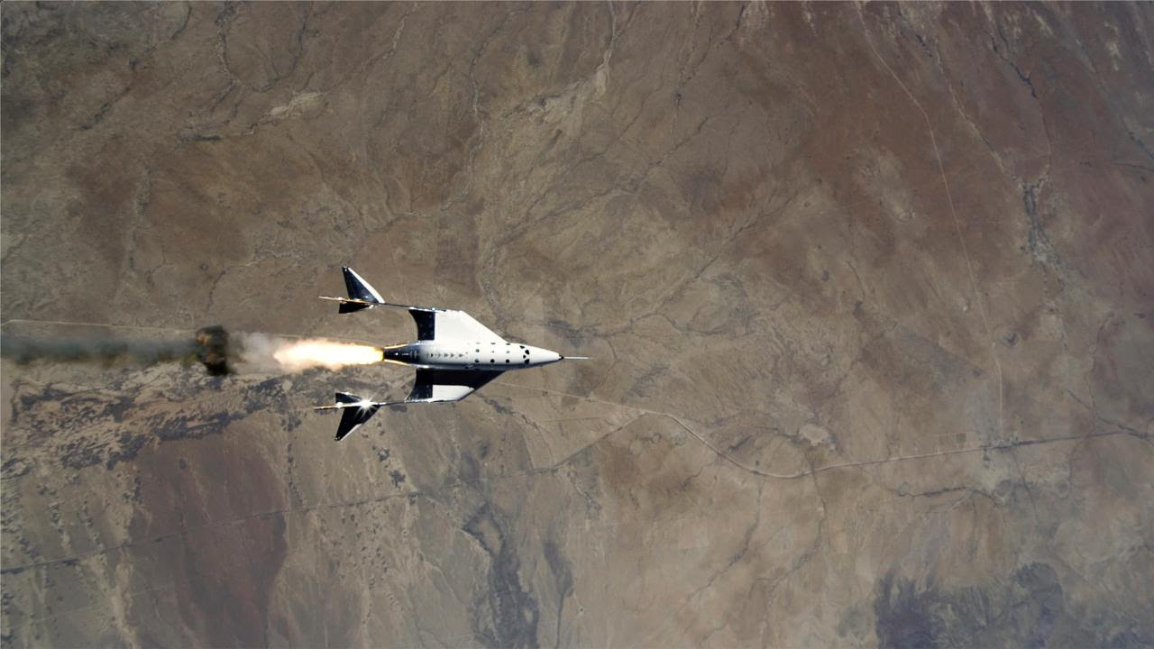 This Saturday, May 22, 2021 image provided by Virgin Galactic shows the release of VSS Unity from VMS Eve and ignition of rocket motor Image credit: Virgin Galactic via AP