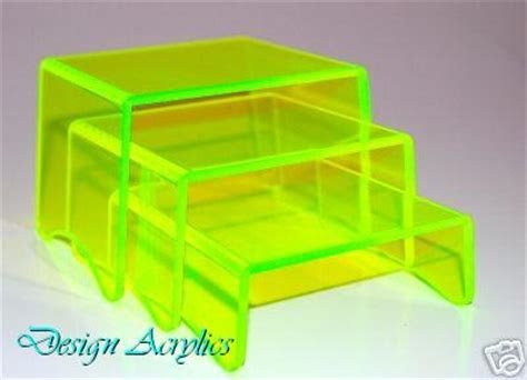 Set of 3 Neon Edge Glow Acrylic Risers Display Stands 80mm