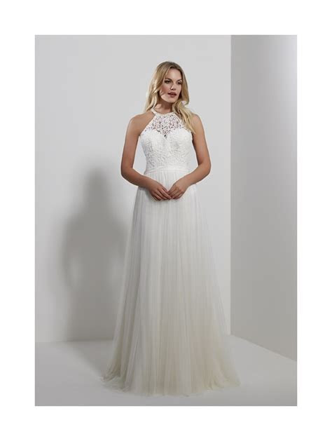 Romantica Sicily Halter Neck Tulle Wedding Dress Ivory