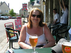 Dot with a Pelforth Blond, France 2008