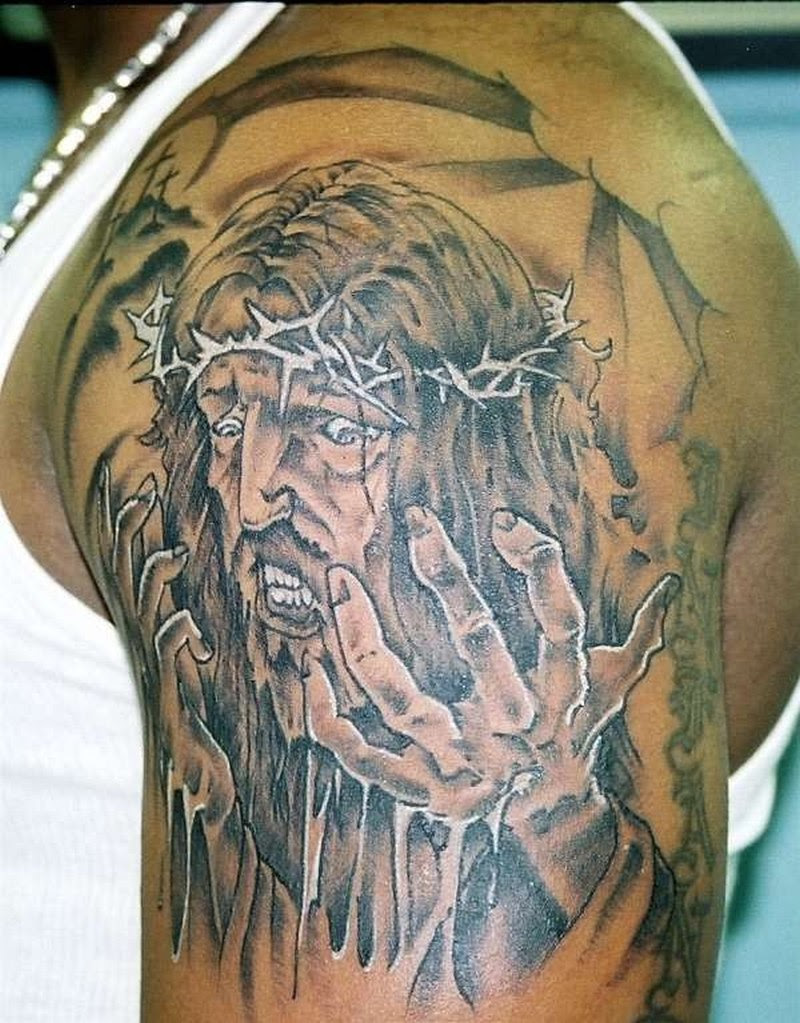 Barbed Jesus Tattoo On Shoulder Tattoos Book 65000 Tattoos Designs