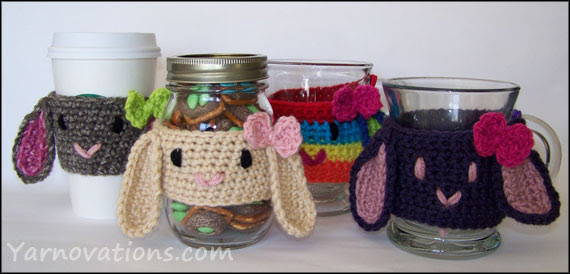 crochet bunny in four color combinations