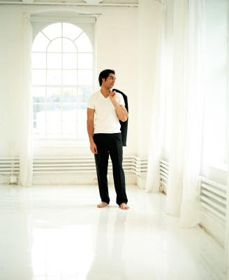 Look sharp in ironed flat-front pants.