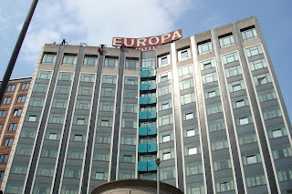 Abseiling down Belfast's Europa Hotel for Habitat for humanity