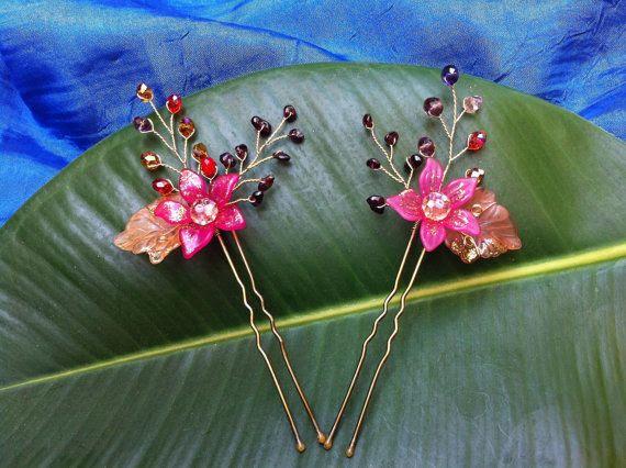 Wire wrap jewelry retro hair pins x2 -  garnet stones, Czech glass beads, crystals, acrylic - wire wrap jewelry.