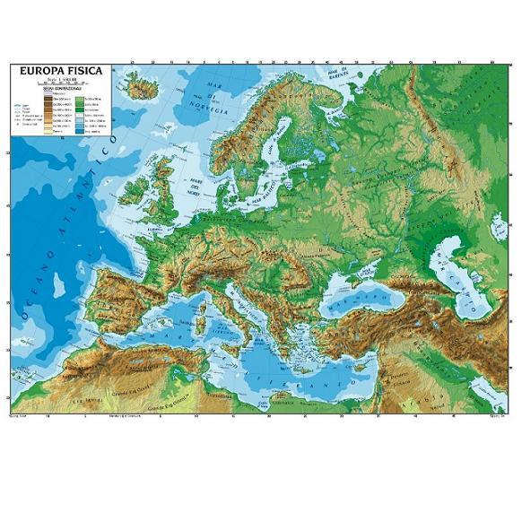 Cartina Politica Europa Pdf.Cartina Europa Fisica Da Stampare Stampae Colorare
