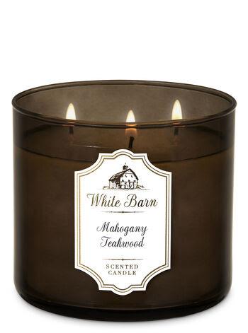 Mahogany Teakwood 3-Wick Candle - White Barn | Bath & Body ...