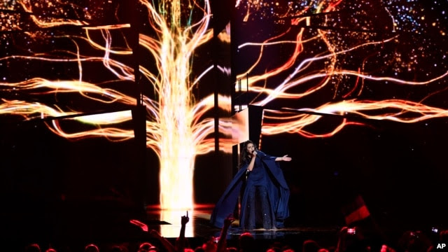 "Ukraine's Jamala performs the song ""1944"" during the Eurovision song contest final in Stockholm, Sweden, May 14, 2016."