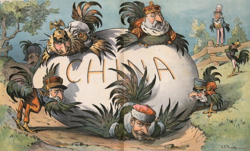 A Troublesome Egg to Hatch by J.S. Pughe, a satire from 1901 on the European powers'attempts to exploit China as the US and Japan look on.