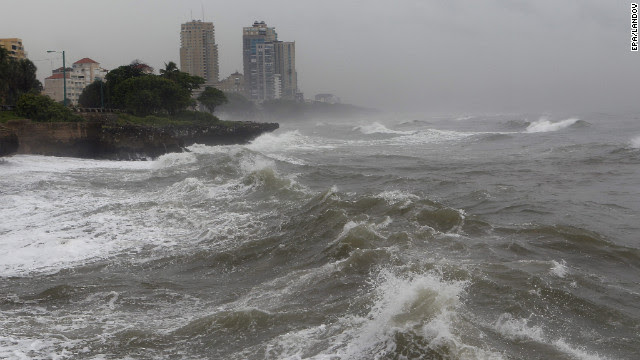 Waves hit the coast in Santo Domingo on Wednesday.