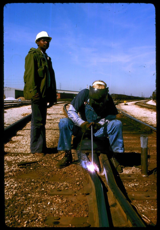 Atchison Topeka Santa Fe Welder And His Helper Kansas Memory Kansas Historical Society
