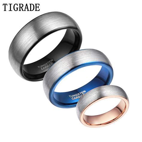 6MM High Polished Brushed Tungsten Carbide Ring Men Black