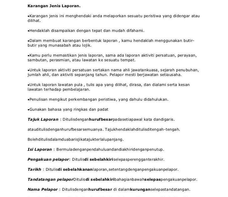 Contoh Karangan Laporan Tingkatan 1 Br1m Reg
