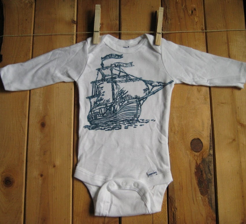 Block Printed Long-sleeved  Cotton Baby Onesie (you pick size)