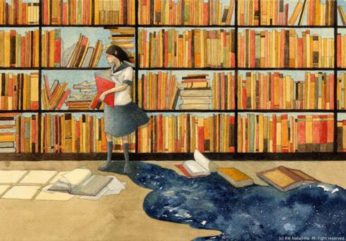 In the library / En la biblioteca (Ilustración de Rie Nakajima)