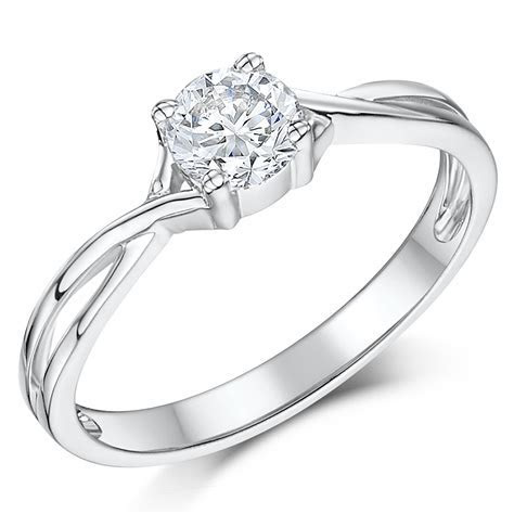 9ct White Gold Half Carat Diamond Solitaire Twist