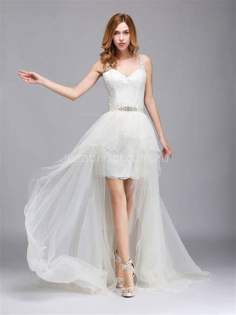 Detachable High Low Skirt Two In One Wedding Dress W1068