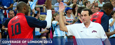 USA head coach Mike Krzyzewski high fives Kobe Bryant (left) after the men's basketball semifinals against Argentina in the London 2012 Olympic Games at North Greenwich Arena. Mandatory Credit: Kyle Terada-USA TODAY Sports