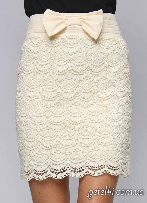 Muy hermosa crochet falda recta.  Esquemas de tejer