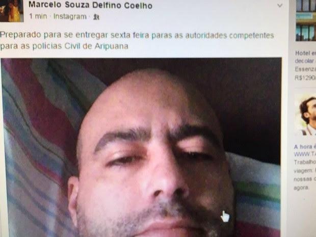 Em página na rede social, ele disse que irá se entregar nesta sexta à polícia (Foto: Polícia Civil-MT)