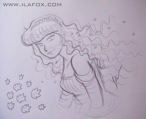 Desenho a lápis, mulher cabelos ao vento, by ila fox