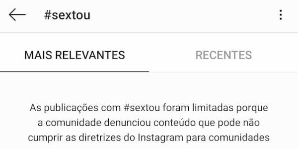 a tag #sextou é utilizada fora do Brasil para compartilhar conteúdo pornográfico no Instagram.