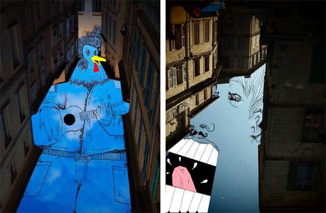 Sky Art: Thomas Lamadieu Illustrates in the Sky Between Buildings sky illustration