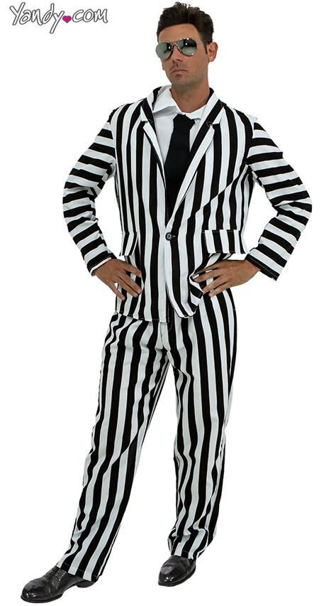 Mens Black And White Pinstripe Suit Dress Yy