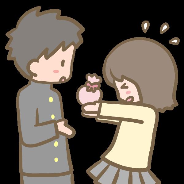チョコを渡す女の子のイラスト かわいいフリー素材が無料のイラストレイン