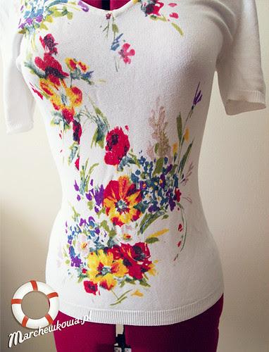 szafiarka, marchewkowa, blog, szafiarstwo, vintage, retro, bluzka w kwiaty, dzianina, spódnica, Allegro, H&M, pasy