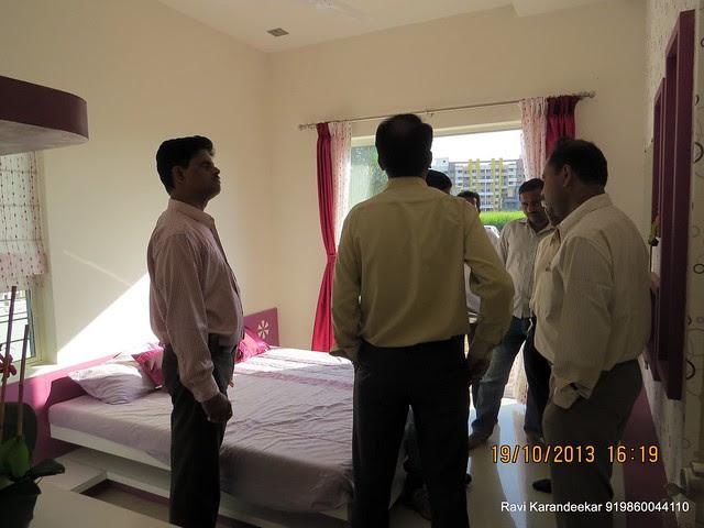 Property Buyers in the Master Bedroom - Visit 2 BHK Show Flat of Vastushodh Projects' UrbanGram Kolhapur, Township of 438 Units of 1 BHK 2 BHK Flats, behind S. P. Office, near Dream World Water Park, Kolhapur 416003 Maharashtra, India