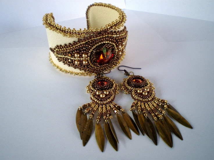 Bead Embroidery Bracelet Cuff Bead embroidery earring Seed bead jewelry Cream Gold Bronze Swarovski. $125.00, via Etsy.