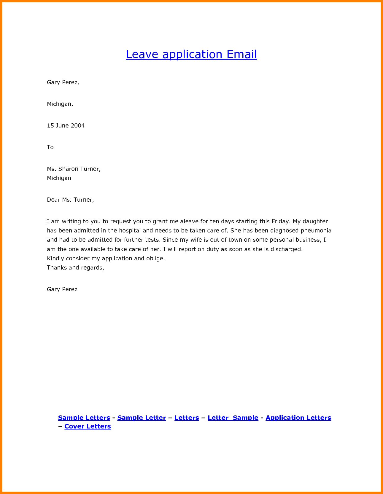 Leave Request Email Sample | scrumps