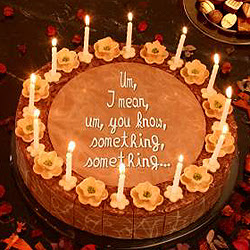 Mike's beautiful homemade chocolate cake with his inscription, ''Um, I mean, um, you know, something, something...''