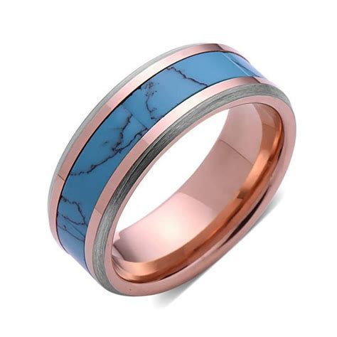 Turquoise Inlay Tungsten Ring   Rose Gold and Gray