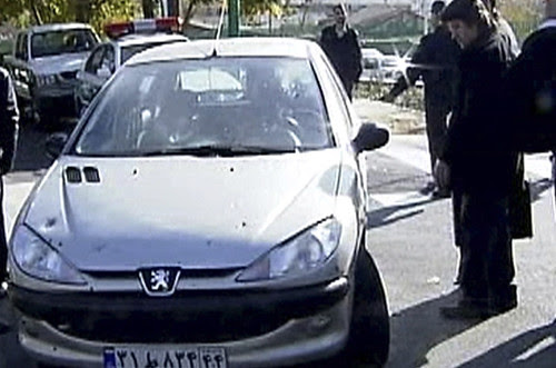 Car where Iranian nuclear scientist was killed by a bomb placed in a vehicle. The Islamic Republic is blaming Israel and the United States for being behind the bombing. by Pan-African News Wire File Photos
