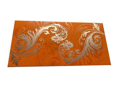 Indian Money Envelope in Amber Orange with Designer Floral