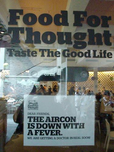 Food for thought cafe - maintenance sign by ellen forsyth