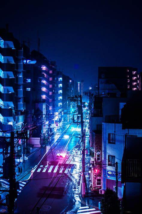 rainy night  tokyo japan retrowave futurism