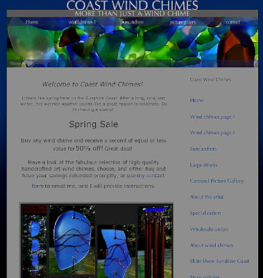 my new website, Coast Chimes, snapshot image of the homepage