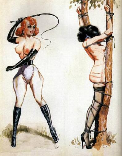 Ravenhaired woman tied to tree and whipped