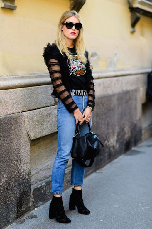 Le Fashion Blog Feminine Sheer Ruffled Shirt Worn In Denim Graphic T Shirt Black Boots Via Elle