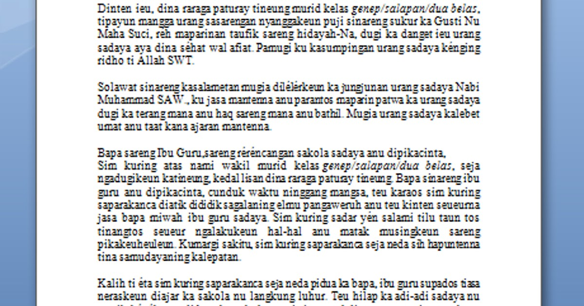 Contoh Pidato Perpisahan Sekolah Dalam Bahasa Sunda Beserta Artinya