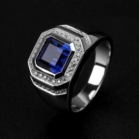 brand fashion men ct sapphire cz  silver engagement
