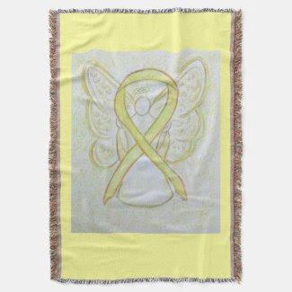 Awareness Ribbon Angel Custom Art Throw Blanket