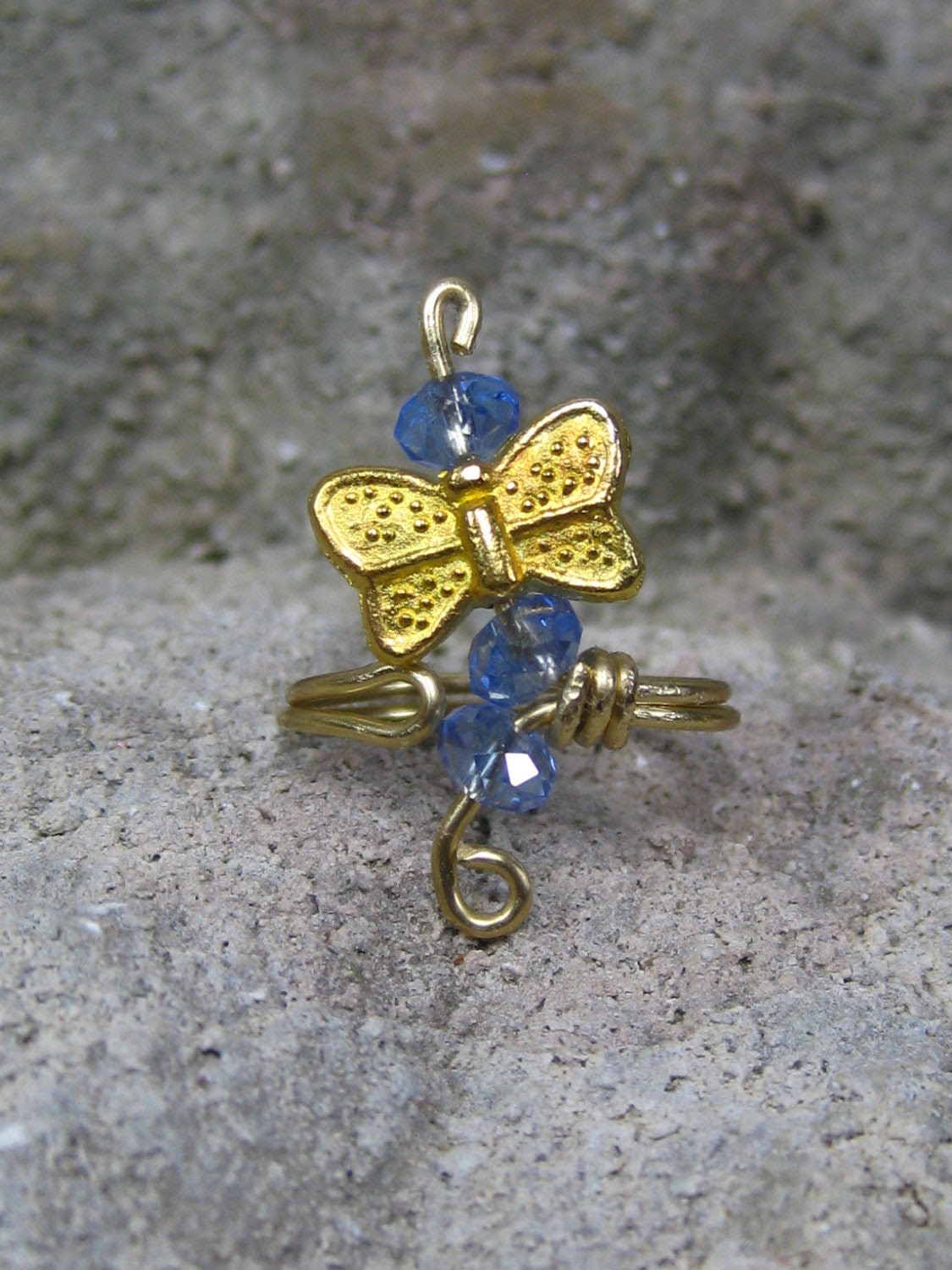 Toe-dally Butterfly Toe Ring, size 6 adjustable toe ring, blue crystals and a butterfly are perfect for summer foot jewelry