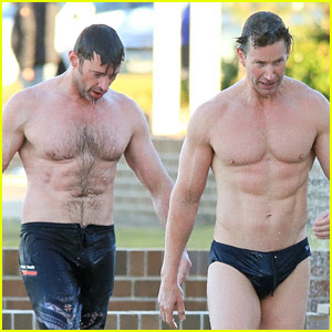Hugh Jackman Hits the Beach with His Speedo-Clad Trainer!
